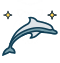 dolphin with stars icon